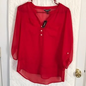 Express lace v-neck red blouse